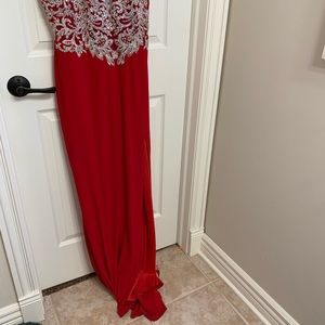 Mori Lee Dresses - Gorgeous red silver detail prom dress